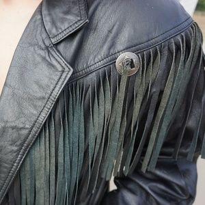 Vintage Jackets & Coats - Vintage Fringe Leather Jacket